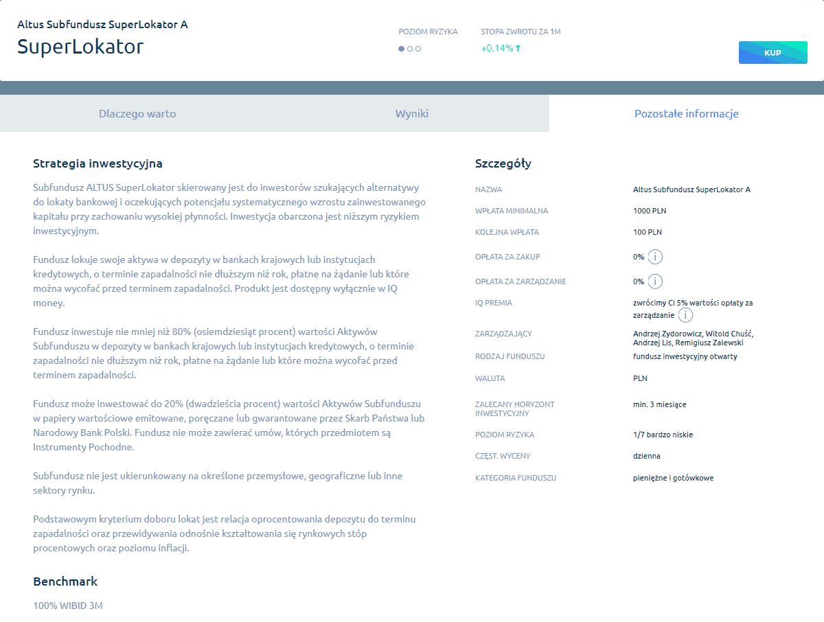 Fundusz inwestycyjny Altus SuperLokator naplatformie IQ money