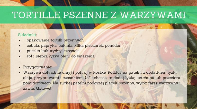 Przepisy dla studenta - Tortille pszenne zwarzywami