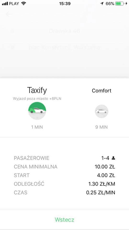 Taxify - podsumowanie przejazdu