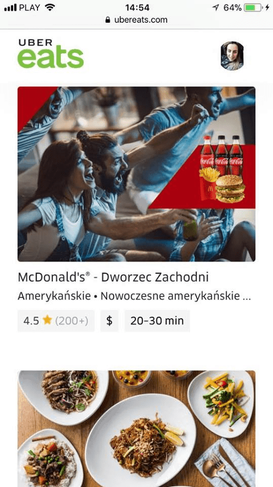 Uber Eats - aplikacja mobilna