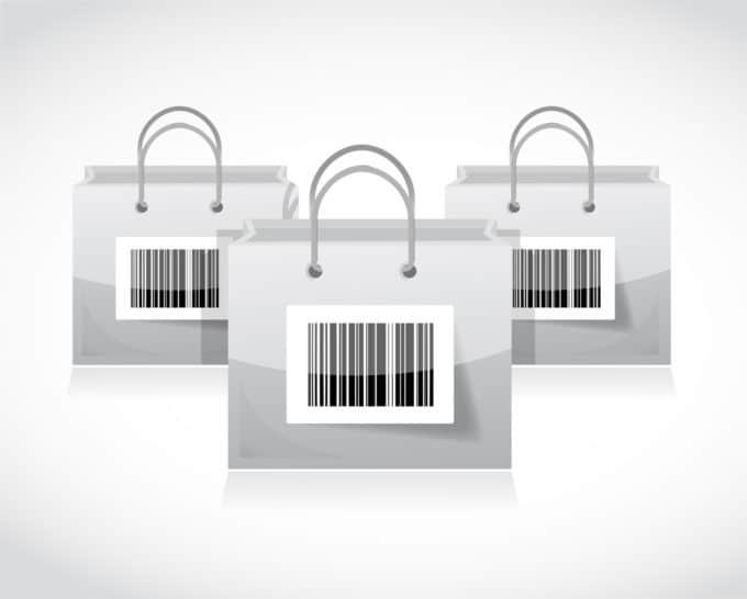 Trzy torby z kodem kreskowym